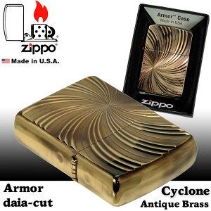 zippo(ジッポーライター)アーマー両面ダイヤカットサイクロンAアンティークブラスD/CCYCLONE(A)画像