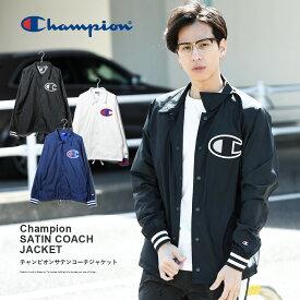 Champion サテンコーチジャケット メンズ Champion チャンピオン サテン コーチジャケット 胸ロゴ メンズ レディース 男女兼用 ストリート系 韓国ファッション
