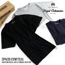[SALE]nigel cabourn/ナイジェル・ケーボン 3パックジムTシャツ 3-PACK GYM TEES 80360021050[メンズ Tシャツ 半袖 3枚セット Vネック ポケットTシャ