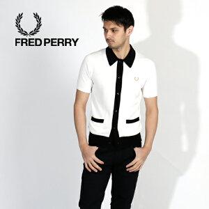 FREDPERRY/フレッドペリーBUTTONTHROUGHKNITTEDSHIRTボタンニットシャツSK5155[メンズニットシャツUKモッズマイルズ・ケインおしゃれかっこいい紳士夏服夏物夏大人彼氏プレゼントゴールドローレルリースコットンレーヨンコラボ70's]