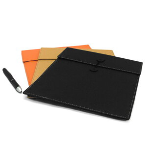 ドキュメントケース 黒 オレンジ ベージュ DOCUMENT CASE 3COLORS BLACK ORANGE BEIGE 本革調 おしゃれ ステーショナリー iPad Air mini 対応 ケース PU レザー 合成皮革 ドキュメントファイル 文房具 紐付き