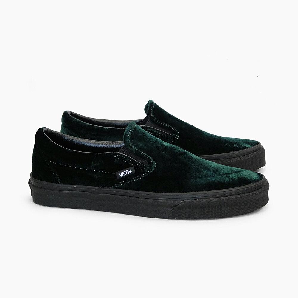 VANS MEN'S CLASSIC SLIP-ON [(VELVET) GREEN/BLACK VN0A38F7QU0] バンズクラシック スリッポン ベルベット グリーン ブラック 緑 メンズ スリッポン スニーカー ヴェルヴェット