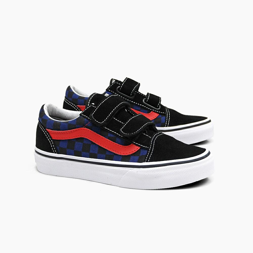 VANS OLD SKOOL V [(CHECKERBOARD) BLACK/BLUE DEPTHS VN0A38HDODI]バンズ キッズ オールドスクール ベルクロ ブラック 黒 ブルー 青 スエード キャンバス スニーカー 18.0cm/19.0cm/20.0cm KIDS SHOES OLDSKOOL 子供靴