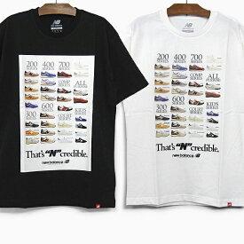 【メール便配送対応】ニューバランス Tシャツ NB INCREDIBLE TEE メンズ 半袖 クルーネック フォトプリント ブラック ホワイト コットン MT91582