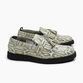 フレッドペリー ジョージコックス タッセル ローファー ホワイト FRED PERRY GEORGE COX EMBOSSED TASSEL LOAFER WHITE B9279 100 メンズ 本革 シューズ 蛇柄 紳士靴