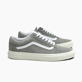 【5%OFF】VANS バンズ オールドスクール レディース スエード グレー OLDSKOOL (PIG SUEDE)DRIZZLE/SNOW WHITE VN0A4BV518P USA企画