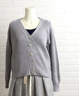 Nimes (NIMES) cotton 1.5G mercerized cotton with silky touch lily yarn V neck cardigan, NLK5101011-0091501