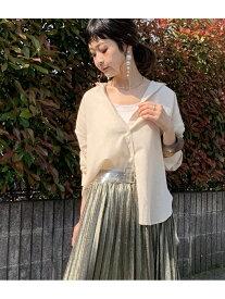 [Rakuten Fashion]【SALE/50%OFF】フレンチリネンブレンドビッグシャツ ViS ビス シャツ/ブラウス シャツ/ブラウスその他 ベージュ ホワイト グリーン【RBA_E】