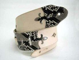 JAJABOON ブリティッシュスタイル ユリの紋章ギターストラップ パイソン(ヌメ皮×パイソン) 蛇革(ダイヤモンドパイソン)製