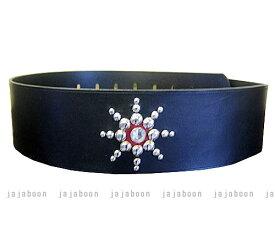 JAJABOON 太陽モチーフギターストラップ 黒 本革(レザー)製