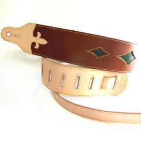 JAJABOON ブリティッシュスタイル ユリの紋章ギターストラップ 茶(ブラウン×ヌメ皮) 本革(レザー)製