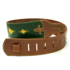 JAJABOON ブリティッシュスタイル ユリの紋章ギターストラップ 緑×茶(グリーン×ブラウン) 本革(レザー)製