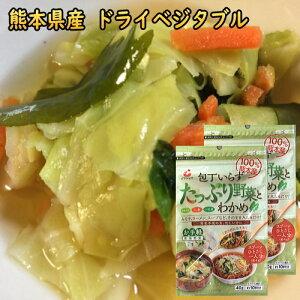乾燥野菜 ミックス 国産 80g 送料無料 たっぷり野菜とわかめドライベジタブル 九州・熊本県産野菜 キャベツ、ニンジン、小松菜、カットわかめ 干し野菜 フリーズドライ 保存食 食品 ポイン