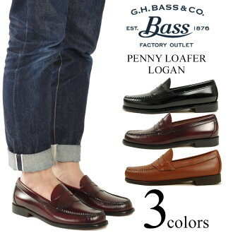 Bus G.H.BASS # 149 penny loafers Logan ブラッシュオフ leather black ( LOGAN BRUSH OFF LEATHER )