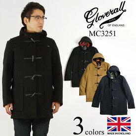 グローバーオール GLOVERALL MC3251 ミッドレングス ダッフルコート 防寒 英国製 メンズ ハーフ ショート | イングランド製 ブランド アウター ミドル丈 タータンチェック裏地 ブラック 黒 キャメル メルトンウール トグルボタン