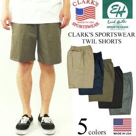 クラークス スポーツウエア (エリックハンター) ツイルイージーショーツ アメリカ製 米国製 バギーショーツ チノショーツ CLARK'S ERICK HUNTER | MADE IN USA メンズ ワイドシルエット リラックス シワになりにくい、汚れにくい素材