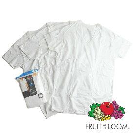 【返品不可】フルーツオブザルーム FRUIT OF THE LOOM 3パック VネックTシャツ ホワイト (3PACK V-NECK WHITE 無地)
