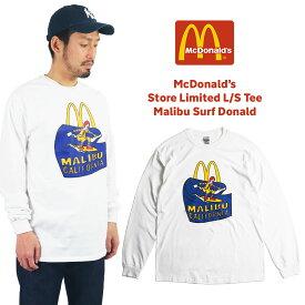 マクドナルド 長袖 Tシャツ 波乗りドナルド マリブ店限定 ホワイト BIG SIZE(大きいサイズ メンズ レディース S-XXXL McDonald's ロンT 海外買い付け商品)