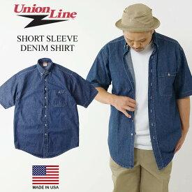 ユニオンライン UNION LINE 半袖 デニムシャツ BIG SIZE(メンズ S-XXL 大きいサイズ 10064 アメリカ製 米国製 ボタンダウン ダンガリー)