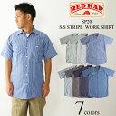 レッドキャップ REDKAP #SP20 半袖 ストライプ ワークシャツ INDUSTRIAL STRIPE S/S WORK SHIRT   メンズ ワークブラ…