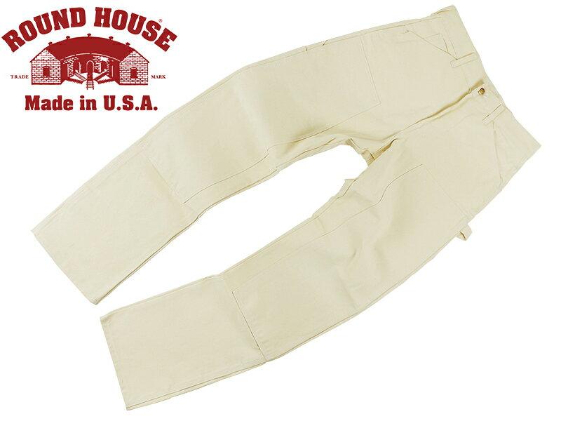 ラウンドハウス ROUND HOUSE #1101 ダブルフロント ナチュラルドリル ペインターパンツ MADE IN USA (米国製 )