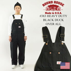 ラウンドハウス ROUND HOUSE #383 ヘビーデューティー ブラックダック オーバーオール MADE IN USA (アメリカ製 米国製 )