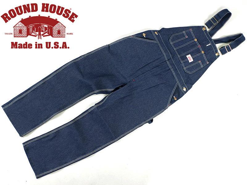 ラウンドハウス ROUND HOUSE #907 ローバック ブルー デニム オーバーオール MADE IN USA (米国製 生デニム)