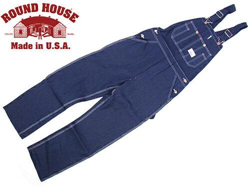 ラウンドハウス ROUND HOUSE #966 クラシック ブルー デニム オーバーオール MADE IN USA (米国製 生デニム)