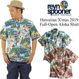 レインスプーナー REYN SPOONER 半袖 フルオープン アロハシャツ ハワイアンクリスマス 2019 (Hawaian X'mas クリスマス 限定柄)