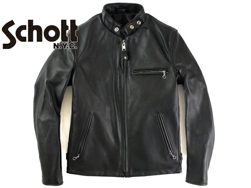 ショット SCHOTT 641 スタンドカラーシングルライダース ブラック ■ミンクオイルプレゼント■(米国製)