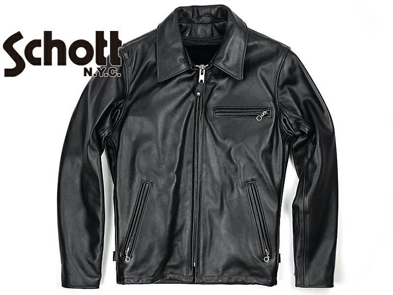 ショット SCHOTT 643 当店別注 襟付き シングルライダース ブラック MADE IN USA(米国製 レザージャケット トラッカー)