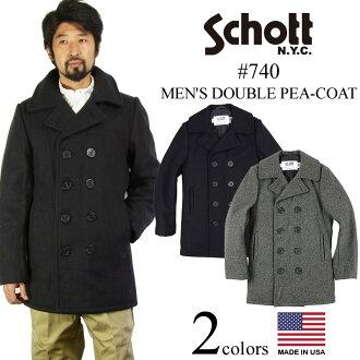 Pea coat Navy MADE IN the USA double shot SCHOTT 740 wool ( military coat Wool Double P-Coat P )