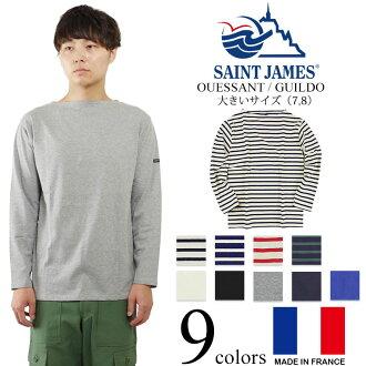 圣詹姆斯SAINT JAMES巴斯克衬衫杯啊天然的损失/行会深蓝/BIG SIZE(OUESSANT MARINE/ECRU边缘)