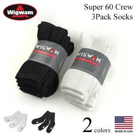 【返品不可】ウィグワム Wigwam クルーソックス スーパー60 3足セット (アメリカ製 米国製 SUPER60 CREW 3P 靴下)