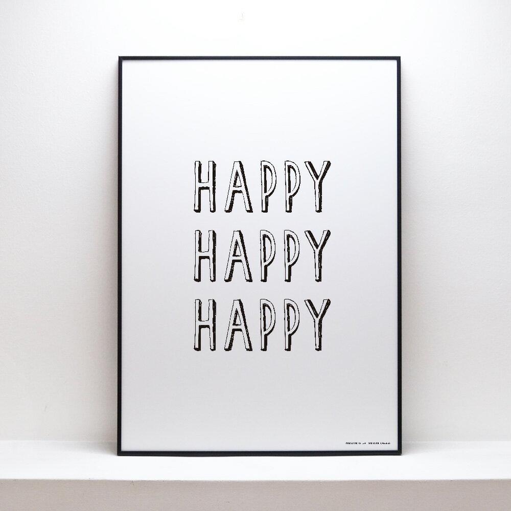 【HAPPYHAPPYHAPPY】ポスター北欧アートポスターデザイナーズモノクロインテリアおしゃれ ※フレーム別売り