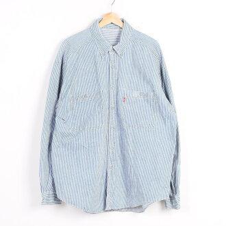 李維斯山核桃條紋長袖子按鈕降低粗斜紋布襯衫人XL Levi's/wez6754