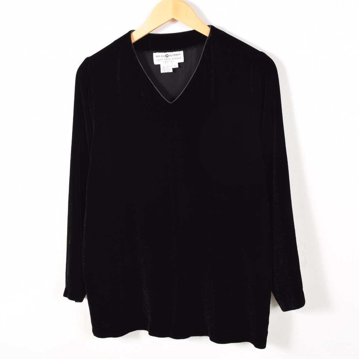 ベロア Vネック カットソー レディースL REAL CLOTHES /wab6540 【中古】 【170218】