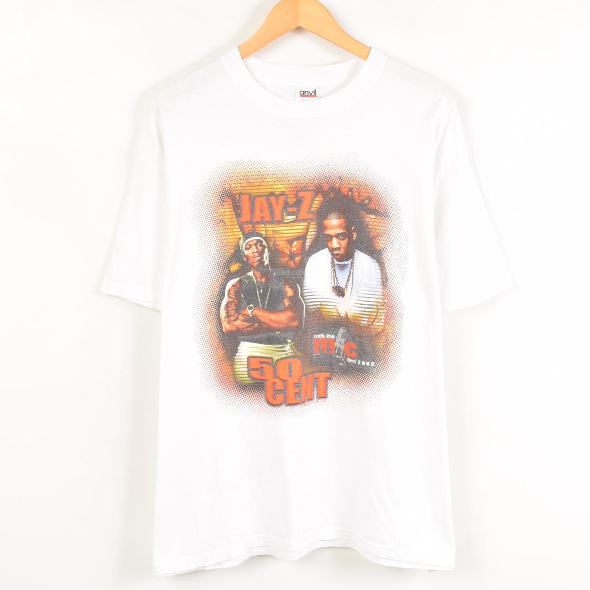 rock the mc fest 2003 JAY-Z AND 50CENT バンドTシャツ メンズXL anvil /wab9986 【中古】 【170520】