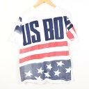 90年代 US BOYS 星条旗柄 ロゴプリントTシャツ USA製 フリーサイズ /wah3747 【中古】 【170625】