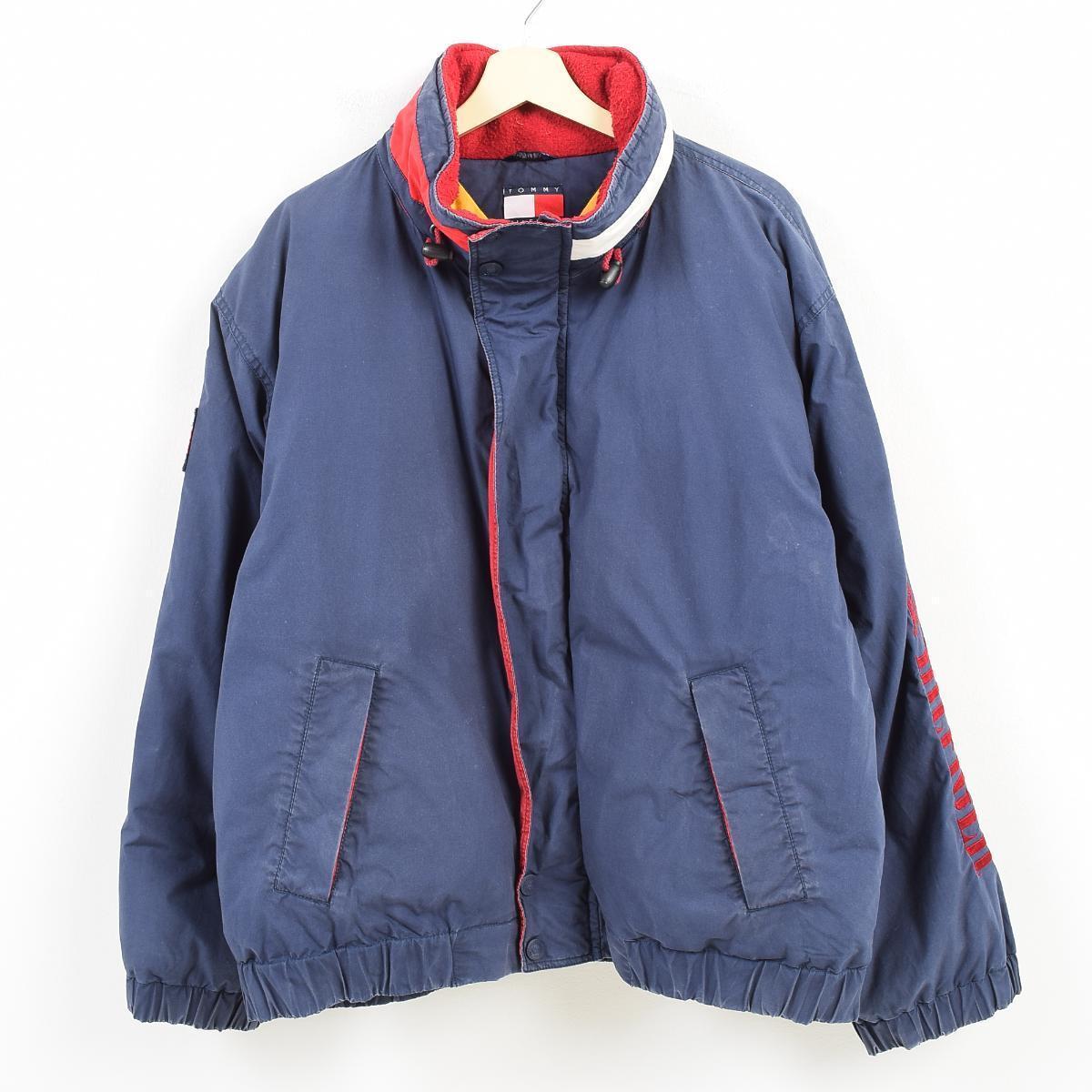 90年代 トミーヒルフィガー TOMMY HILFIGER フード収納型 袖ロゴ 中綿ジャケット メンズL /wak6838 【中古】 【171109】