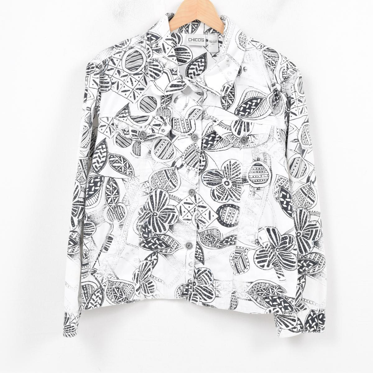 CHICO'S 総柄 スパンコール刺繍 デニムジャケット レディースL /wap1739 【中古】 【180318】【SP10】