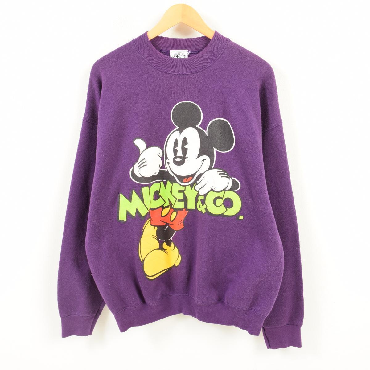 MICKEY&CO. MICKEY MOUSE ミッキーマウス キャラクタースウェットシャツ トレーナー フリーサイズ /war3201 【中古】 【180330】