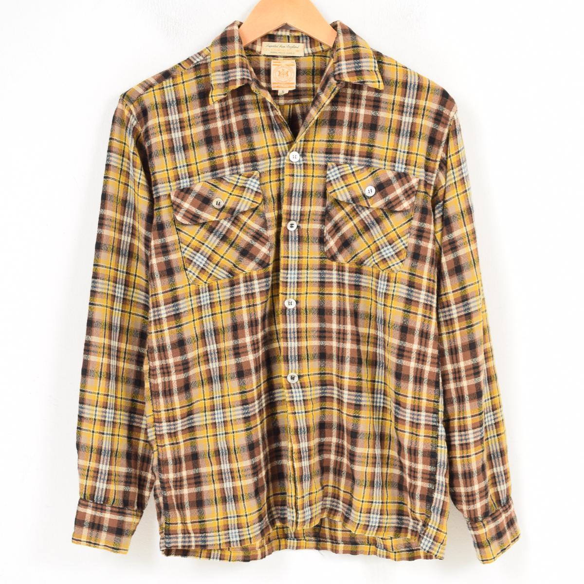 60年代 ハドソン ベイ Hudson's Bay チェック柄 ウールシャツ メンズS ヴィンテージ /wao9178 【中古】 【180403】