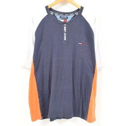 90年代tomihirufiga TOMMY HILFIGER JEANS hafujippuwampointorogo T恤人XXL/wan0401[中古][180518]