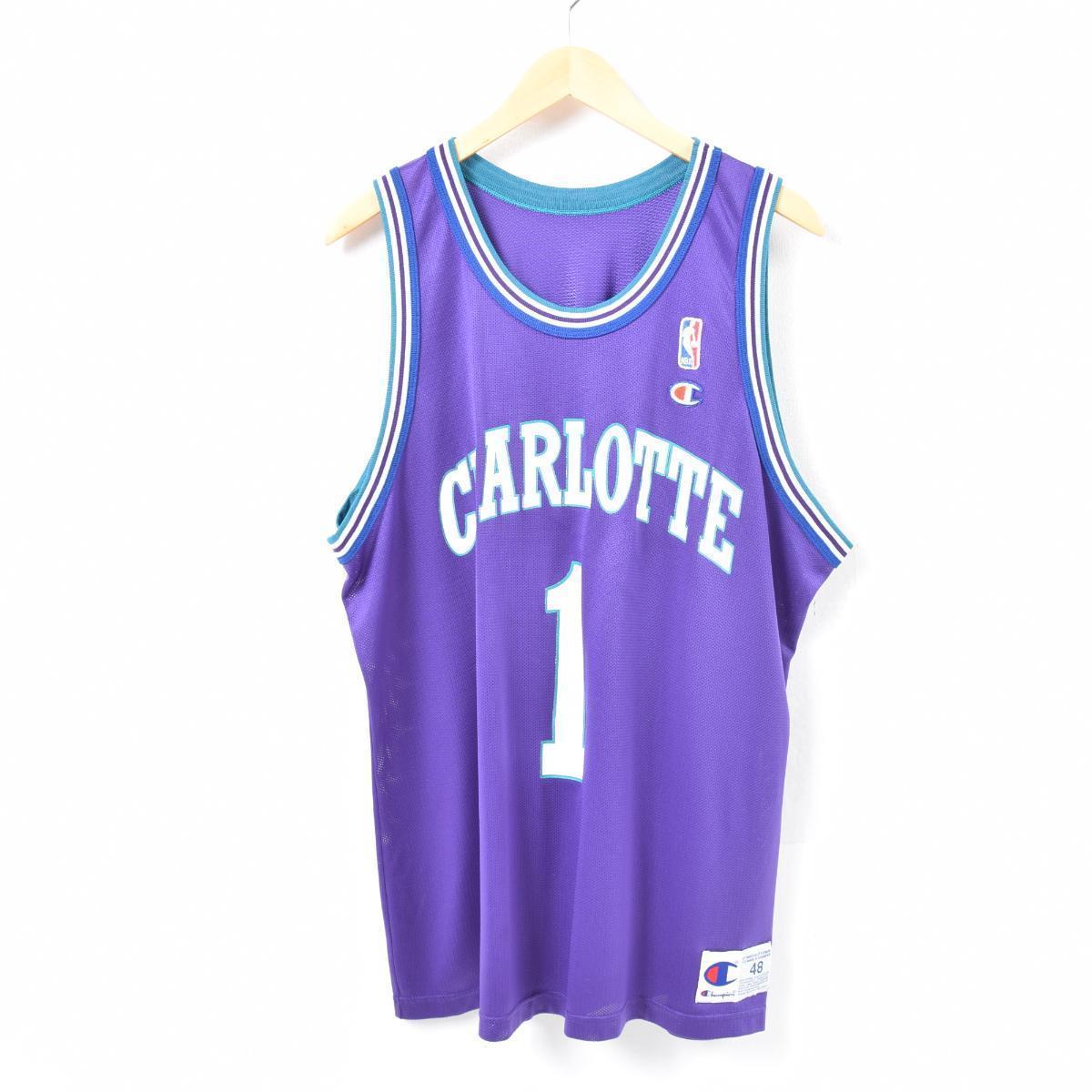 90年代 チャンピオン Champion NBA CHARLOTTE BOBCSTS シャーロットボブキャッツ マグシー ボーグス ゲームシャツ レプリカユニフォーム USA製 メンズL /was3064 【中古】 【180518】