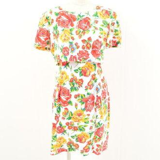JOAN LESLIE 옷 무늬 꽃무늬 셋업풍반소매 타이트 원피스 레이디스 M~L /wam9660