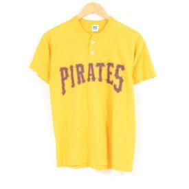 ラッセル Russell MLB PITTSBURGH PIRATES ピッツバーグパイレーツ ヘンリーネック ロゴTシャツ メンズS /wau7380 【中古】【古着屋JAM】 【180607】【SS1909】