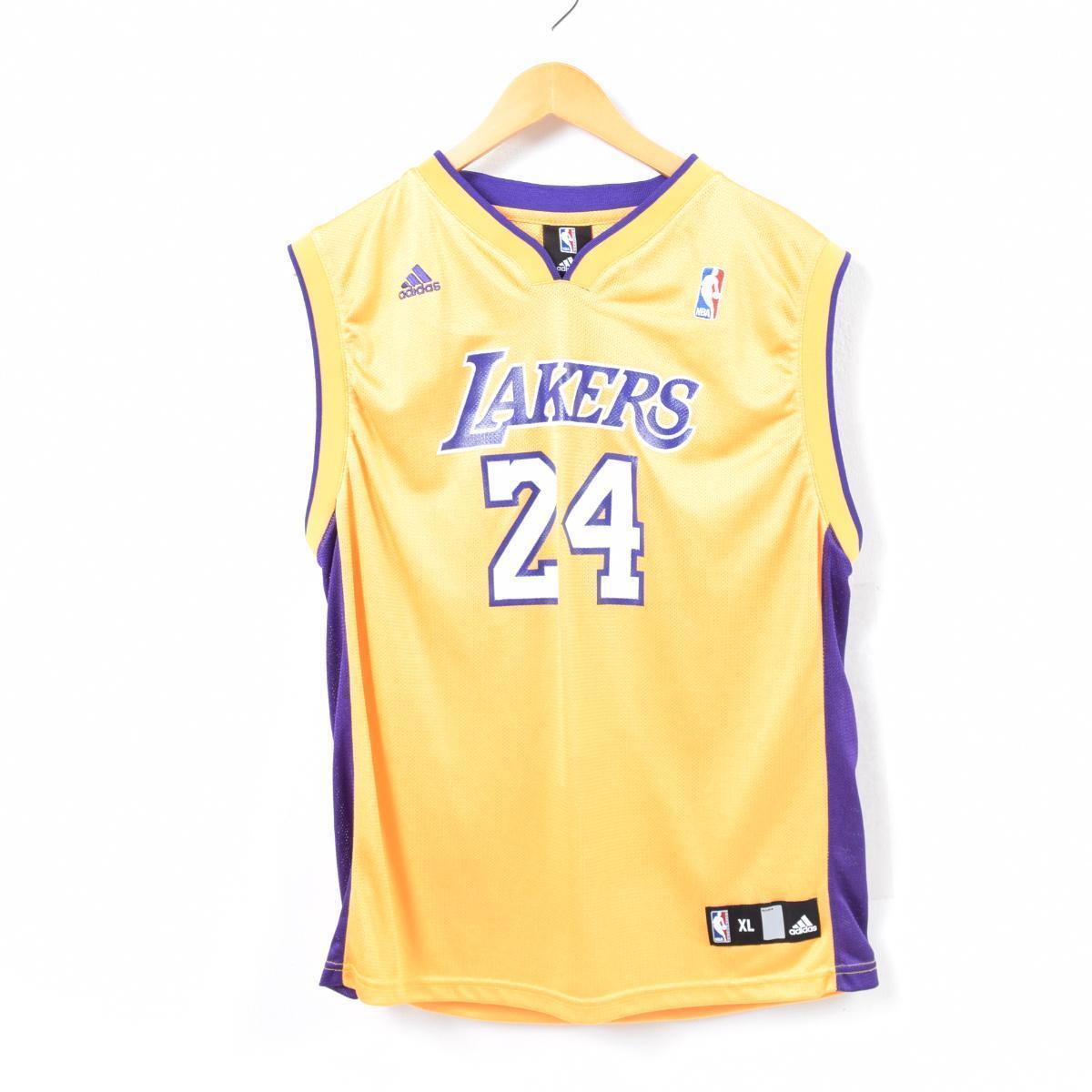 アディダス adidas NBA LOS ANGELES LAKERS ロサンゼルスレイカーズ KOBE BRYANT コービーブライアント ゲームシャツ レプリカユニフォーム メンズXL /waq7239 【中古】 【180622】