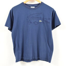 80年代拉科斯特LACOSTE標識T恤法國製造3男子的S復古/was7043[中古][180621]