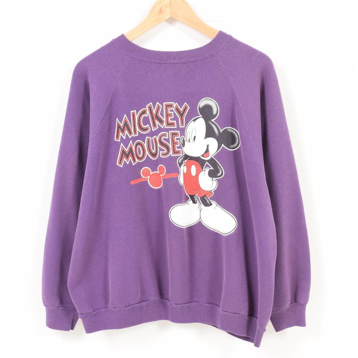 ヘインズ Hanes HerWay MICKEY MOUSE ミッキーマウス キャラクタースウェットシャツ トレーナー USA製 レディースL /wat7540 【中古】 【180814】
